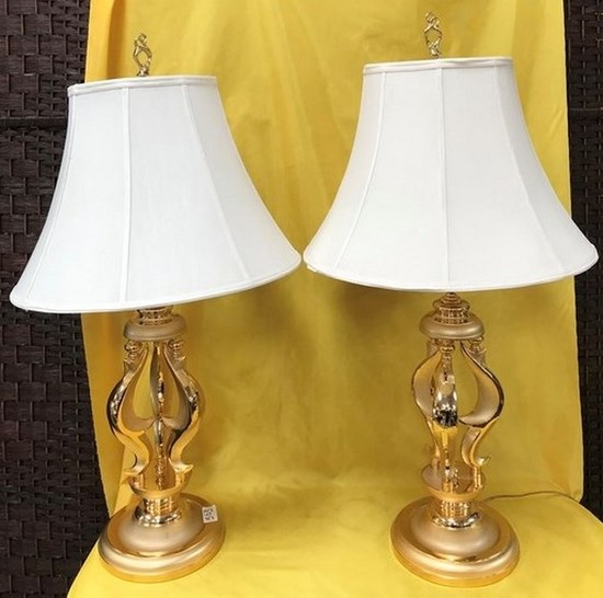 PAIR OF BRASS LAMPS W/ WHITE SHADES  - PRICED 320.00 EACH LAMP