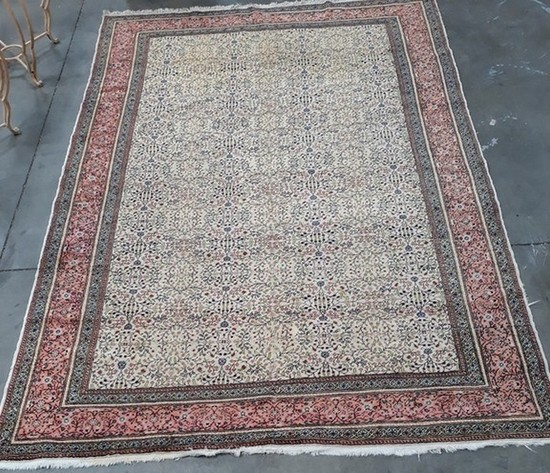 """117"""" BY 76"""" HAND TIED AREA RUG - SEE PICTURES FOR DETAILS & CONDITION"""