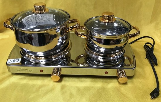 2 BURNER COOKER WITH POTS & LIDS BY COMMAND PERFORMANCE GOLD