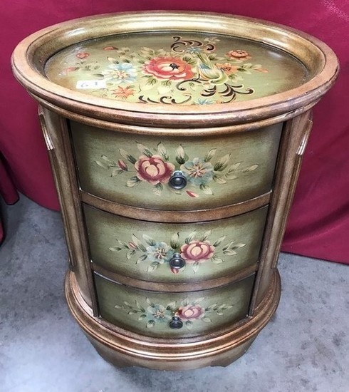THREE DRAWER FLORAL PAINTED OVAL TOP END TABLE