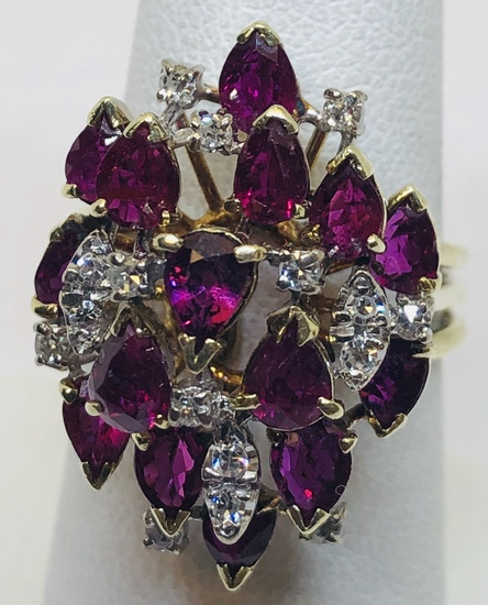 14KT YELLOW GOLD 10.00CTS RUBY AND .15CTS DIAMOND RING