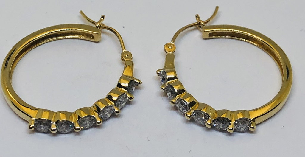 14KT YELLOW GOLD 1.00CTS DIAMOND EARRINGS