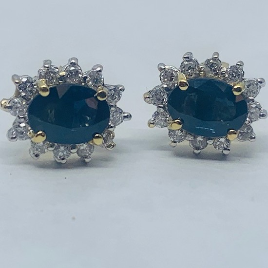 14KT YELLOW GOLD 3.00CTS SAPPHIRE AND .80CTS DIAMOND EARRINGS
