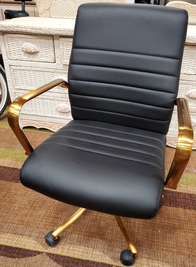 NEW DESIGNER FROM WMC - OFFICE CHAIR WITH GOLD COLOR METAL ARMS