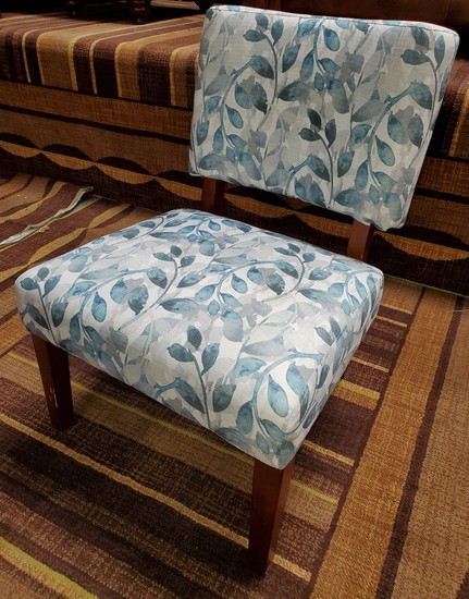 NEW DESIGNER FROM WMC - ARMLESS SIDE CHAIR - BLUE FLORAL PRINT