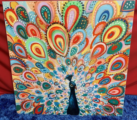NEW 40X40 MULTICOLOR GORGEOUS PEACOCK CANVAS ARTWORK