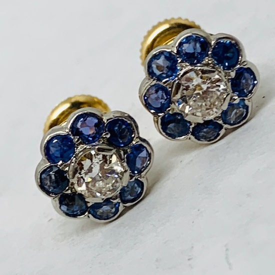 14KT YELLOW GOLD .80 CTS BLUE SAPPHIRE AND .65 CTS DIAMOND EARRINGS