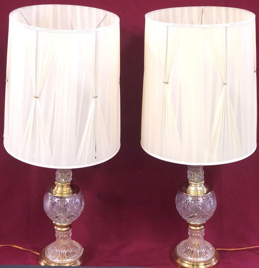 PAIR OF VINTAGE CRYSTAL & BRASS LAMPS - SEE PICS FOR DETAILS