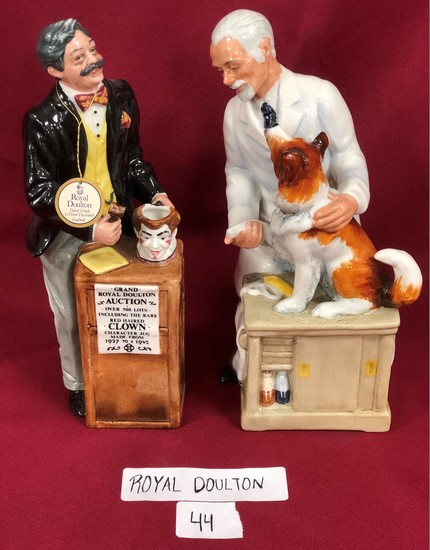 """(2) ROYAL DOULTON PORCELAIN FIGURINES INCLUDING  """"THE AUCTIONEER"""""""