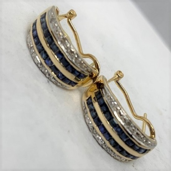 18KT YELLOW GOLD 1.00CTS BLUE SAPPHIRE AND .16CTS DIAMOND EARRINGS