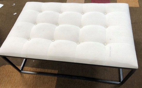 WHITE FABRIC RECTANGULAR OTTOMAN  FROM WMC - FLOOR SAMPLE