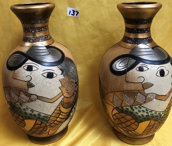 LOT OF TWO PICASSO STYLE VASES