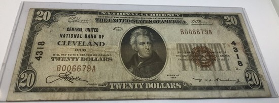 20 DOLLAR NATIONAL BANK OF CLEVELAND