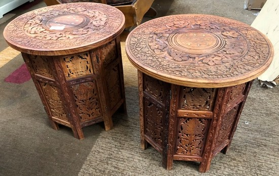 LOT OF TWO CARVED TEAKWOOD END TABLES