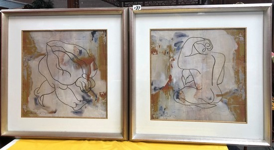 (2) SILVER FRAMED MATCHING ARTWORK - SIGNED - SEE PICS FOR DETAILS