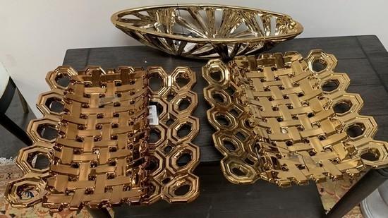 LOT PF THREE GOLD COLOR CERAMIC PIERCED BOWLS/PLATTERS ($90.00)