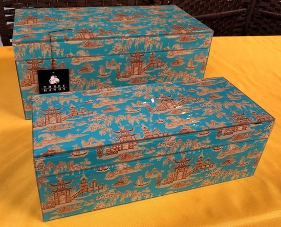 SET OF (2) ASIAN THEME BLUE JEWELRY BOXES BY THREE HANDS (77.00)