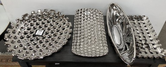 NEW WMC DESIGNER LOT OF 4 SILVER PLATERS BY THREE HANDS (139.00)