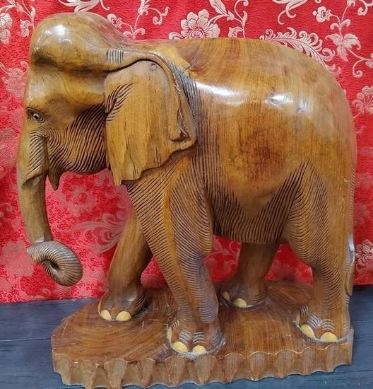 """19"""" TALL WOOD CARVED ELEPHANT"""