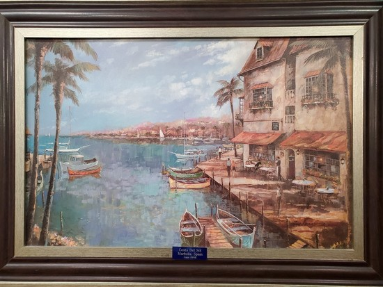"""""""COSTA DEL SOL"""" SIGNED CANVAS ARTWORK FROM SPAIN"""
