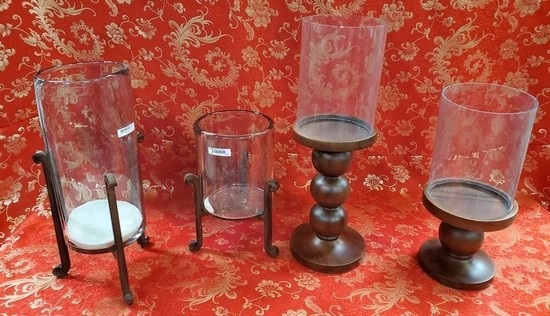 LOT OF 4 WMC METAL/GLASS CANDLE HOLDERS