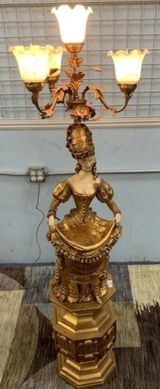 GOLD COLOR FRENCH LADY TABLE LAMP