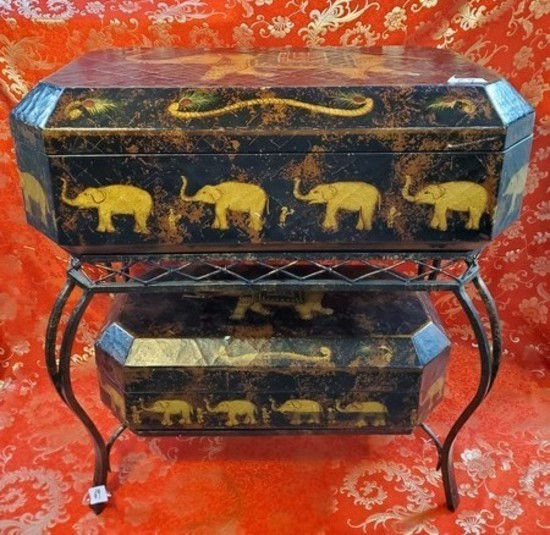 VERY NICE ELEPHANT STORAGE CONSOLE TABLE - SEE PICS DETAILS
