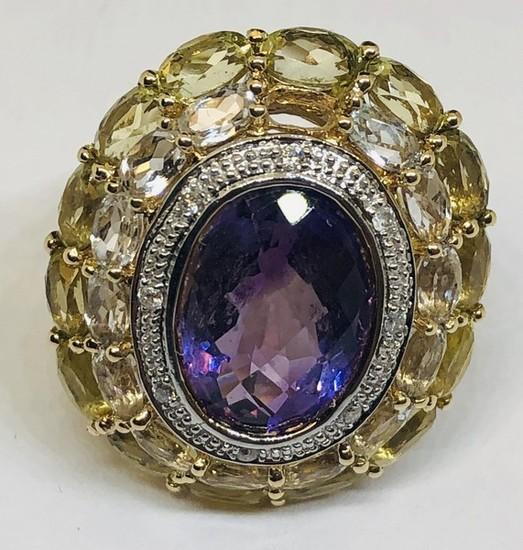 14KT YELLOW GOLD AMETHYST/CITRINE/TOPAZ/DIAMOND RING