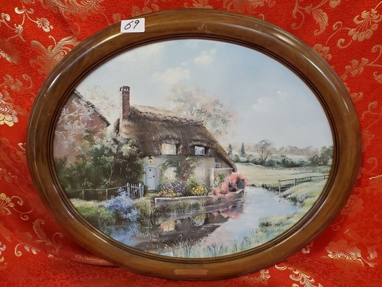 OVAL FRAMED CANVAS ARTWORK WITH CERTIFICATE BY MARTY BELL