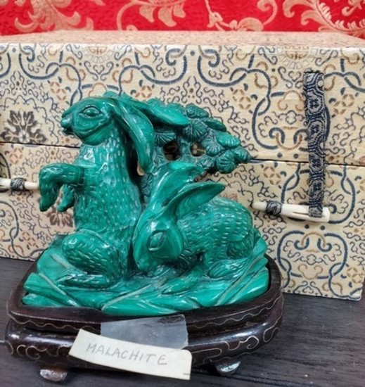 MALACHITE CARVING ON STAND - SEE PICS FOR DETAILS