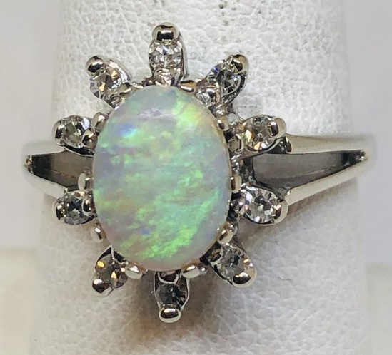 14KT WHITE GOLD OPAL AND DIAMOND RING 4.1GRS