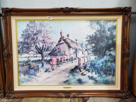 """""""RODWAY COTTAGE"""" BY MARTY BELL FRAMED CANVAS ARTWORK"""