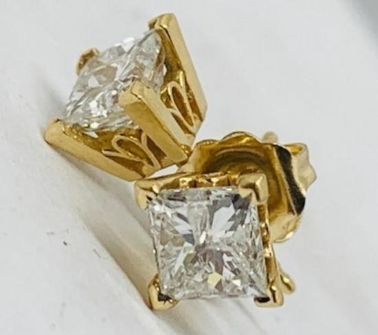 14KT YELLOW GOLD 1.15CTS DIAMOND STUD EARRINGS