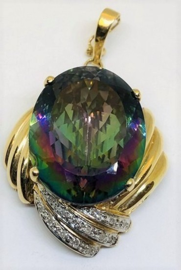14KT YELLOW GOLD 26.00CTS MYSTIC TOPAZ AND .25CTS DIAMOND PENDANT
