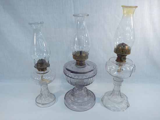 """3 Old Oil Lamps - Swirl, 17½""""; Greek Key, 19""""; Plume, 20½"""" ( Small Chips On"""