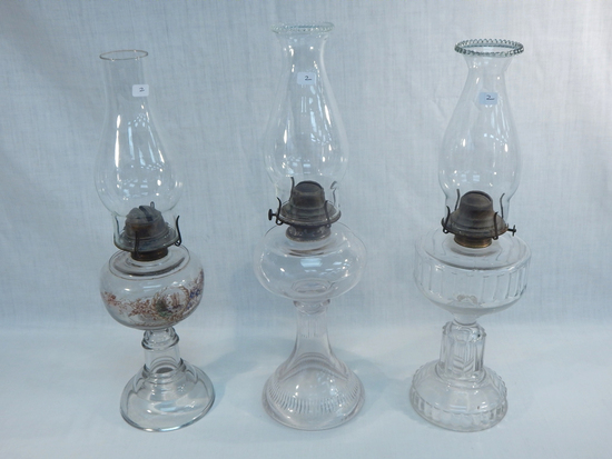 "3 Old Oil Lamps - 1 W/ Ship & Flowers, 18½""; 2 Misc., 19½"" & 18½"" - ( All H"