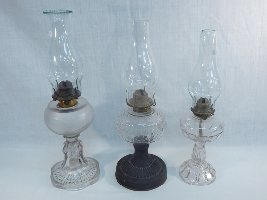 """3 Old Oil Lamps - 1 W/ Frosted Font, 19½""""; Metal Base, 18""""; Teardrops, 17"""""""