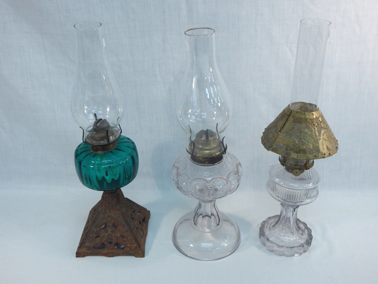 "3 Old Oil Lamps - 1 W/ Iron  Base & Green Font, 18""; Patterned Glass, 17½"";"