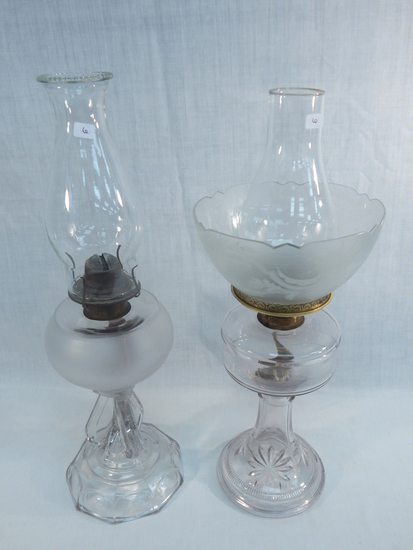"""2 Old Oil Lamps - 1 W/ Frosted Font, 20""""; 1 W/ Acid Etched Shade, 19½"""" - ("""