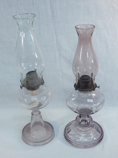 """2 Old Oil Lamps - Both W/ Sun Amethyst Color, 18½"""" & 17"""""""