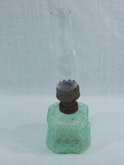 Small Old Oil Lamp - Patterned Glass, 12""