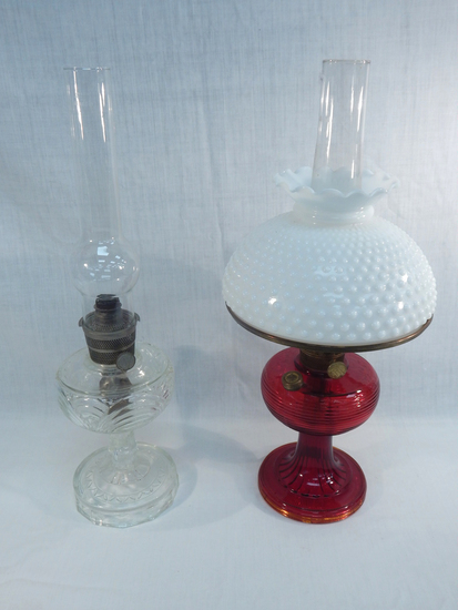 "2 Aladdin Lamps - 1 Complete, Both 23"" ( Minor Wear )"