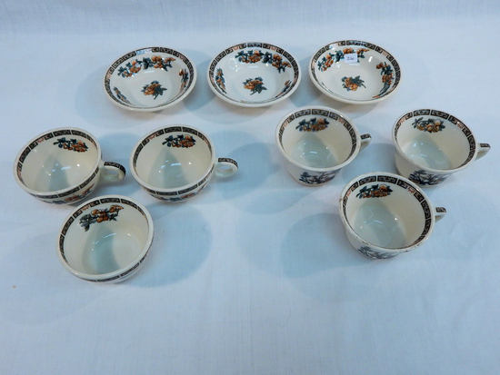 9 Pieces Ironstone - 6 Cups & 3 Bowls