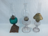 3 Old Oil Lamps - 1 W/ Iron  Base & Green Font, 18