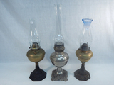 3 Old Oil Lamps - All W/ Iron Bases, 19½