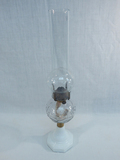 Old Oil Lamp - W/ Glass Base & Patterned Glass, 20