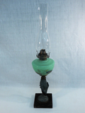 Old Oil Lamp - Unusual Iron Corn & Hand Base W/ Jadeite Hand Painted Font,2