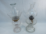 2 Old Oil Lamps - Patterned Glass, 18