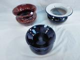 3 Spittoons - 2 Pottery & 1 Enamel Over Metal