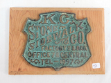 Kansas City Stone / Sidewalk Co. Brass Plaque On Wood